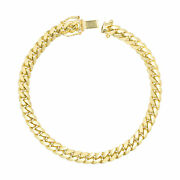 14k Yellow Gold Solid Mens 6mm Miami Cuban Link Chain Bracelet Safe Box Clasp 9