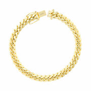 14k Yellow Gold Solid Mens 7mm Miami Cuban Link Chain Bracelet Safe Box Clasp 9