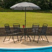 Patio Set With Umbrella Four Chairs Table Outdoor Dining Deck Porch Metal Glass