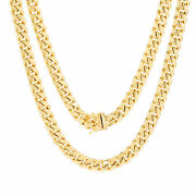 14k Yellow Gold Mens 7.5mm Miami Cuban Link Chain Pendant Necklace Box Clasp 24