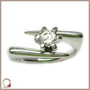 White Gold Ring 18 Kt. Solitaire Womenand039s With Diamond For Engagement Ring