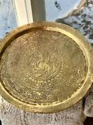 """Antique Hand Hammered Etched Art Middle Eastern Reverse Repouss'e Brass Tray 14"""""""