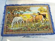 Vintage Horses Grazing Large Wall Art Tapestry 74 X 48 With Fringe Ranching