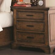 Wooden Nightstand With 3 Drawers With Bracket Leg Support Brown