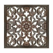 Square Shape Wooden Wall Panel With Filigree Carvings Burnt Brown