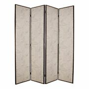 Wooden 4 Panel Foldable Screen With Script Print Beige