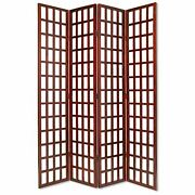 Wooden 4 Panel Foldable Window Pane Screen With Grid Design Brown