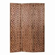 3 Panel Transitional Wooden Screen With Leaf Like Carvings, Brown