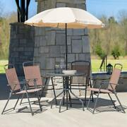 Patio Furniture Set Outdoor Dining Deck Porch Spring Table Chairs Umbrella 6 Pc