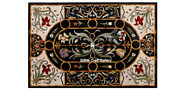 48 X 32 Black Marble Dining Table Top Pietra Dura Inlay Work