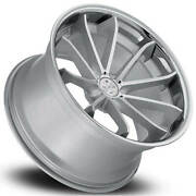 4 22 Staggered Blaque Diamond Wheels Bd-23 Silver With Chrome Ss Lip B5