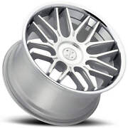 4 22 Staggered Blaque Diamond Wheels Bd-27 Silver Machined With Chrome B14