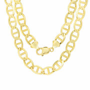 10k Yellow Gold Solid Mens 10.5mm Anchor Mariner Link Chain Necklace 24