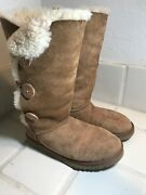 Ugg 1873 Bailey Button Triplet Suede Shearling Winter Boots Womens Size 7 Warm