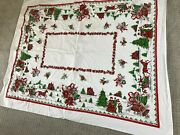 Vintage Christmas Tablecloth Lot 3 Poinsettia Bells Holly Graphic Fabric Round