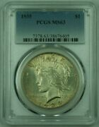 1935 Peace Silver Dollar Pcgs Ms-63 Undergraded Toned 25