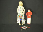 Plains And Navajo Dolls And An Umbilical Beaded Hide Fetish Artifacts C.1910
