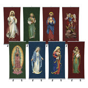 Set Of 8 Holy Images Retractable Banner Stand Saints Angels Mary And Jesus