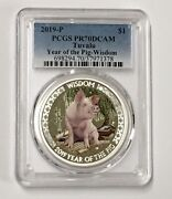 2019 1 Pcgs Pr 70 Tuvalu Year Of The Is Pig Wisdom 1 Oz Silver Coin