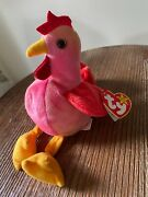 Rare Ty Strut The Rooster Beanie Baby - Mint With Mint Tags - Multiple Errors