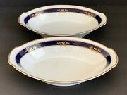Arabia Finland White Cobalt Blue And Gold Serving Bowls Mark Dating 1949-1964