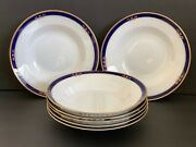 Arabia Finland White Cobalt Blue And Gold Rim Soup Pasta Plates Dating 1949-1964