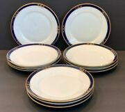 Arabia Finland White Cobalt Blue And Gold 11 Salad Plates Dating 1949-1964