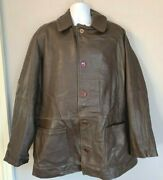 Vintage 80and039s French Urban Tribe Leather Sports Jacket Size Xl Car Coat Cyclist