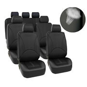 3 Row Pu Leather Universal Car Seat Covers For Auto Suv Van 7 Seaters Set Black