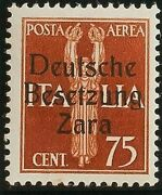 Zara Aandeacutereo. Mnh Yv 3. 1943. 75 Cts Chestnut Yellow Type Ii . Magnifico And R