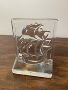 Vintage Heavy Clear Glass Boat Bookend Door Stop Nautical Sailing Clipper Ship