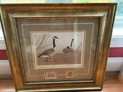 1985 Robert Kussero Geese Print With Stamp And 2007 Ducks Unlimited Pin.