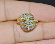 Vintage Natural .60cts Vs G Diamond 750 18k Solid Gold 2 Tone Dome Cocktail Ring