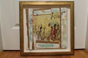 Purvis Young Signed Original Panting On Masonite, Wood And Cardboard - Rejoicing
