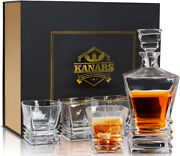 Crafted Liquor Decanter Set W/ 4pcs Whiskey Bourbon Glasses - Lead Free Crystal