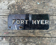 Vintage License Plate Topper Fort Myer Alrington Va Military Base Army Auto Old