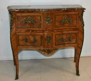 Italian Style Marble Top Commode Inlaid Wood Brass Mounts And Hardware