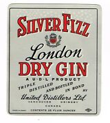 1940s Canada Vancouver Bc United Distillers Silver Fizz London Dry Gin Label