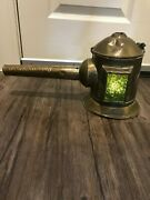 1800and039s Antique Copper Railroad Candle Lantern With Lollipop Handle Re-purposed