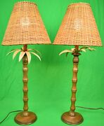 Pair Of English Mahogany Table Lamps W/ Palm Fronds And Faux Bamboo Stems