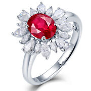 New Jewelry For Women 14kt White Gold Diamond Red Ruby Ring Wedding Rings