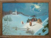Stunning Winter Landscape Oil Painting On Canvas Of Kids And Tractor, Paul Bachem