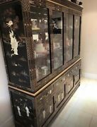 72andrdquo Chinese/oriental Mother Of Pearl Buffet And Display Cabinet