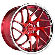 4 20 Staggered Vertini Wheels Rfs1.4 Brushed Red With Chrome Lip Rims B30