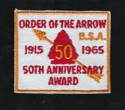 Vintage 1965 Order Of The Arrow 50th Anniversary Award Patch Oa Sash Boy Scout