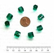 Russian Blue Emerald 10 Facetted Antique Trade Beads  T59