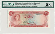 Bahamas 3 Dollars 1965 Pick 19a Sn A330873 - Pmg 53 About Uncirculated