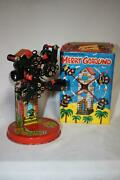 Vtg Mechanical Merry Go Round Wind Up Tin Litho Toy In Original Box