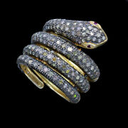 Snake Ring Gold Silver 1 1/4ct Diamonds Coiled Snake W Appraisal 5719