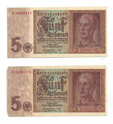 1942 Reichs Bank Note Funf 5 Reichsmark - Two Notes In Sequence 05728